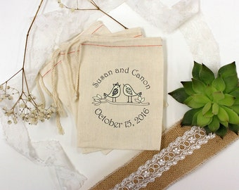 Custom Wedding Favor Bags, Muslin Bags, Personalized Wedding Favors, Love Birds, Couple's Names, 2 x 3 --64510-MB01-610