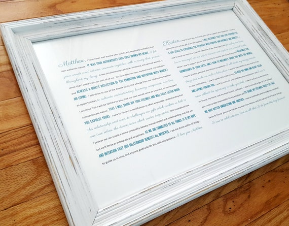 FRAMED Wedding Vows Framed Keepsake Rustic Frame One Year