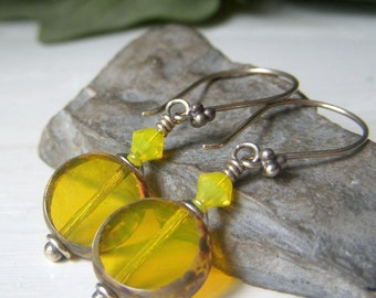 Yellow Opal Glass Earrings, Opalescent Lemon Lime Glass, Czech Glass Dangle Earrings, Coin Shape Sterling Silver Earrings, Handmade Earrings