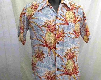 Vintage 40s Rayon Hawaiian shirt Surfriders shirt 1940s Rayon Pineapples Farm Truck Vintage Tiki Shirt 1940s Hawaiian shirt M