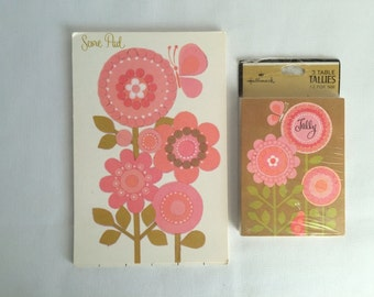 Vintage Hallmark Tally Set - Pad and Unopened Pack of 12 Matching Cards - Pretty Pink Retro Flowers on Gold Background