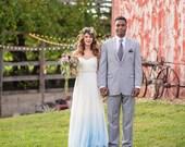 Something Blue Dip Dyed Ombré Silk Tulle Wedding Dress - Julia