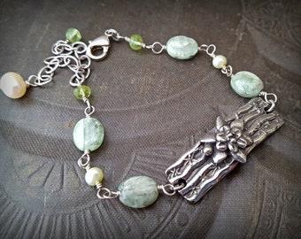 Cottage Chic, Fantasy, Kyanite, Pearls, Peridot, Artisan Made, Cactus Flower, Gemstone Bracelet, Sterling Silver, Pearl, Beaded Bracelet