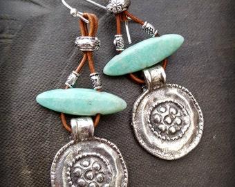 Silver Discs,  Amazonite, Leather, Tribal, Primitive, Organic, Rustic, Beaded Earrings