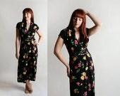 Vintage Dark Floral Jumpsuit - Rayon 1980s Neon Flower Print Capri Culotte Wide Leg Pants Jumpsuit - Medium