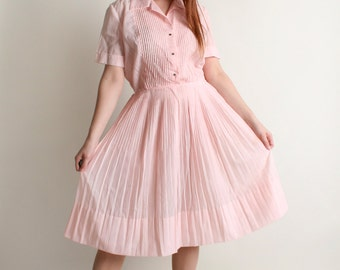 Vintage 1950s Dress - Soft Cotton Candy Pink Pintuck Shirtwaist Dress - Large