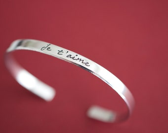 Je t'aime Bracelet - French I love you Cuff Bracelet - Skinny 1/5 inch