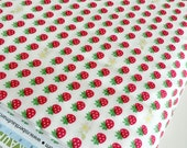 SALE fabric, Japanese fabric, Sevenberry fabric, Petite Classics, Strawberry, Mini Berries in White , Choose your cut