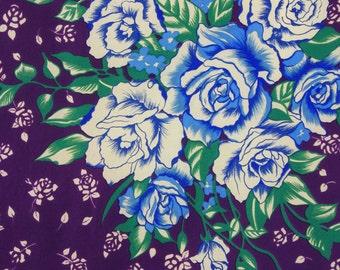 MOVING SALE Lanvin Paris Vintage Dark Purple Floral Rose Bouquet Pure Silk Signed Designer Scarf