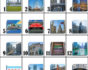 Chicago Stone Coaster Tile Set - COLOR - Pick any four images - 16 to choose from
