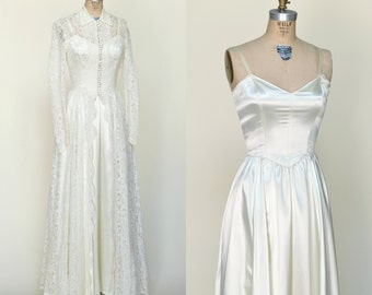 1950s Wedding Gown --- Vintage Wedding Dress with Lace Jacket