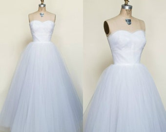 1950s Strapless Wedding Gown --- Vintage Neiman Marcus Wedding Dress