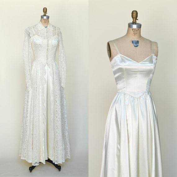 1950s Wedding Gown: 1950s Wedding Gown Vintage Wedding Dress With Lace Jacket