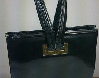 VIntage Black Leather Handbag Purse 1950's - 1960's