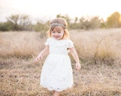 Ivory Rose Lace Dress, Toddler and Girl Special Occasion, Flower Girl Dress