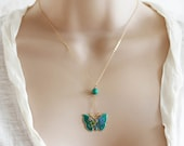 Turquoise Butterfly Necklace Vintage Butterfly Necklace  Cloisonne Butterfly Necklace