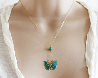 Cloisonee Necklace Vintage Butterfly Necklace Cloisonne Butterfly Necklace
