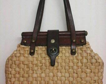 70s JOHN ROMAIN woven straw+leather structured satchel vintage mini basket handbag