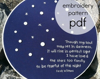 i have loved the stars too fondly//sarah williams old astonomer to his pupil// hand embroidery PATTERN w/vintage buttons/instand download