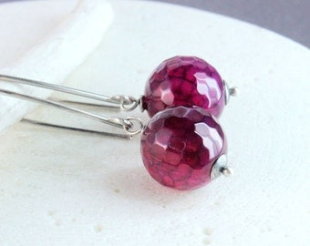 Pink Gemstone Earrings Oxidized Silver Agate Jewelry Dangle Gem Jewelry Fuchsia Earrings Colorful Stone Jewellery Accessories Gift For Her