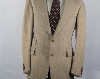 Men's Suit / Two-Piece Vintage Wool Suit / Light Beige Jacket / Size 40 #2049
