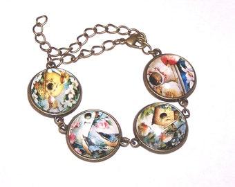 bronze birds and birdhouses bracelet