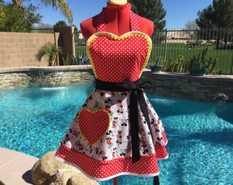 Sassy Minnie  Inspired Apron with Red Polka Dot Petticoat, Womens, Sweetheart Bib, Handmade, Lolita Apron, Pin Up
