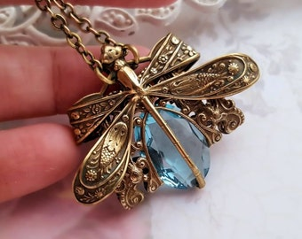 Aqua Dragonfly necklace, antique bronze dragonfly jewelry, aquamarine necklace, aqua blue filigree jewelry, Victorian insect jewelry Last 1