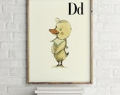 D for Duck - Alphabet art - Alphabet print - ABC wall art - ABC print - Nursery art - Nursery decor - Kids room decor - Children's art