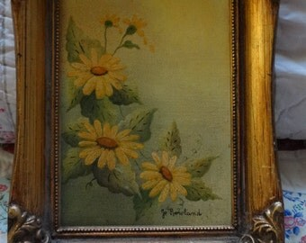 Vintage Daisy Oil Painting, Yellow Flowers, Brown Eyed Susans by Jo Rowland, Wild Flowers, Field, Meadow, Texas Artist