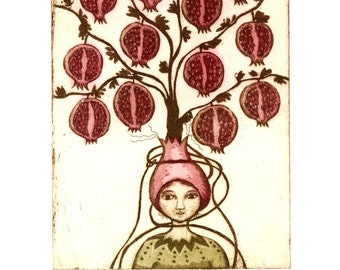 pomegranate, fruit tree art, tree art print, inspirational art, pomegranate wall art, exotic fruit art, fruit print, fruit wall art,
