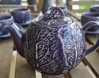 Vintage Majolica Selca of Portugal Purple Cabbage Teapot
