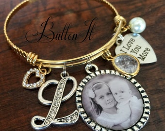 Gifts for Mom, Gifts for Grandma, Gold Bangle Bracelet, Mother's Day gift, Mother daughter jewelry, PHOTO pendant Gifts for Grandma, Initial