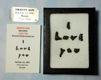 I LOVE YOU Meteorite Sikhote Alin Extraterrestrial Meteorite Writing Display Genuine Space Rocks Fell 1947 Russia And Matching Souvenir Card