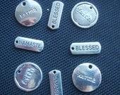 8 Assorted Spiritual Word Charms