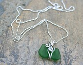 Green Sea Glass Pendant, Wire Wrapped Handmade Necklace, Sterling Silver Wire Wrapped Beach Glass Pendant, Ocean Tumbled Glass
