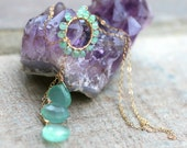 Mint Green Chrysoprase and Chalcedony Gemstone Lariat Wire Wrapped Pendant, 14KT Gold Filled Handmade Necklace, Mint Green Jewelry