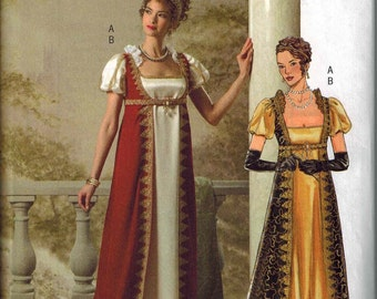 BEAUTIFUL Regency Gown Pattern Empire Waist Butterick 4890 Sizes 6-8-10-12 Uncut Josephine Bonaparte