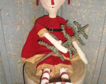 Holiday Raggedy Ann | Primitive Annie | Primitive Raggedy Ann | Cloth Doll