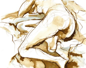 Nude Female Figure Reclining Away - Pen and Watercolor