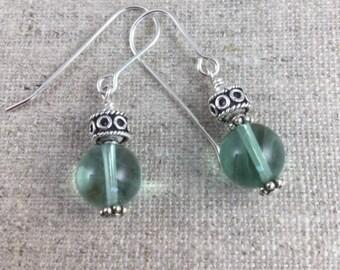 Green Flourite & Sterling Silver Earrings