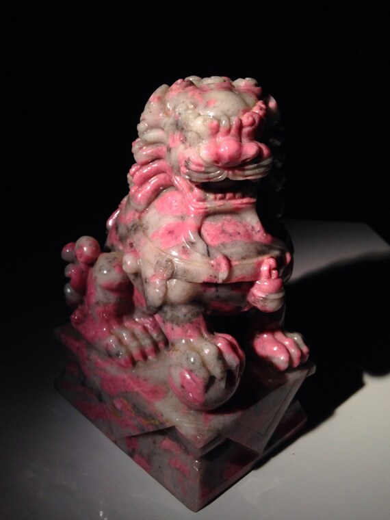 19th Century Chinese Carved Rhodonite Foo Dog Statue