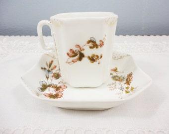 Rare 1870's Haviland Limoges Square 8-Panel Porcelain Demitasse Cup and Saucer
