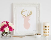 Deer Print, Pink and Gold Glitter Deer Head Art Print Home Decor Office Baby Girls Nursery Printable Wall Artwork Poster Shower Gift for Her