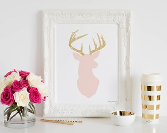 Deer Print, Pink and Gold Glitter Deer Head Art Print Home Decor Office Baby Girls Nursery Printable Wall Artwork Poster Shower Gift for Her