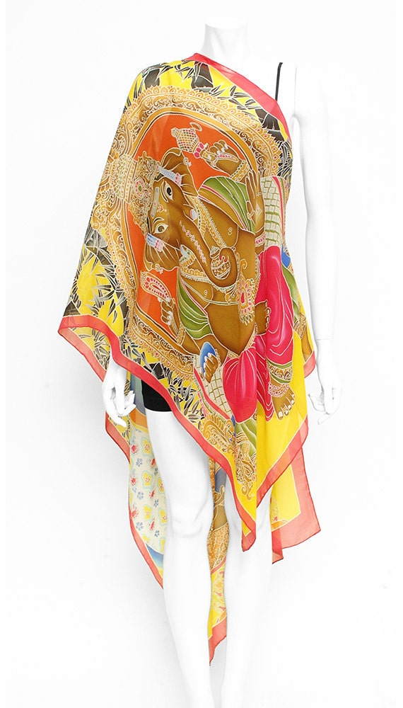 Buddha and Ganesha wearable art chiffon hand painted silk scarf