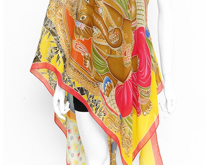 Art of buddha, ganesha painting, wearable art clothing, bamboo wall art, buddha wall decor, silk chiffon scarf, life of buddha, lord ganesha