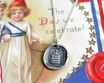 stars and stripes wax seal necklace - faith, sincerity, justice - Patriotic necklace - 4th of July -  silver armorial wax seal jewelry
