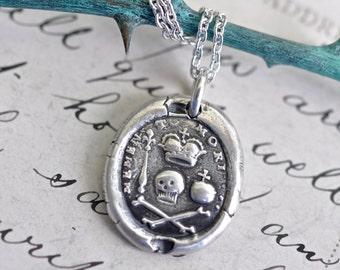 skull and bones wax seal necklace - skull and bones pendant - memento mori - sterling silver antique Georgian era wax seal jewelry