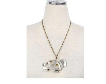Vintage 60s Necklace - Turtle Necklace - Pewter Necklace - Hippie Necklace - Peace Sign - Large Pendant - Statement Necklace - Flower Child